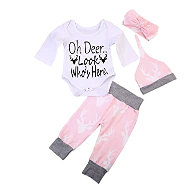 42ffbddc2 Amazon.com: Baby Girls Boys Oh Deer Bodysuits Deer Pants Hats Headband  Outfits Set Infant Kids Clothes: Clothing