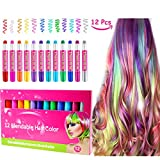 Hair Chalk, Sporteed Colorful Hair Chalk Pens, Non-Toxic Temporary Portable Hair Coloring Chalk, Great Costume Birthday Gifts for Girls - 12 Colors