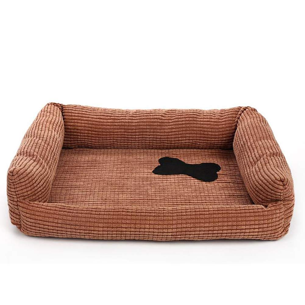 Brown S Brown S Pet Products Textiles Deluxe Bolster Pet Bed for Dogs & Cats, Warming Cozy Inner Cushion,Brown,S