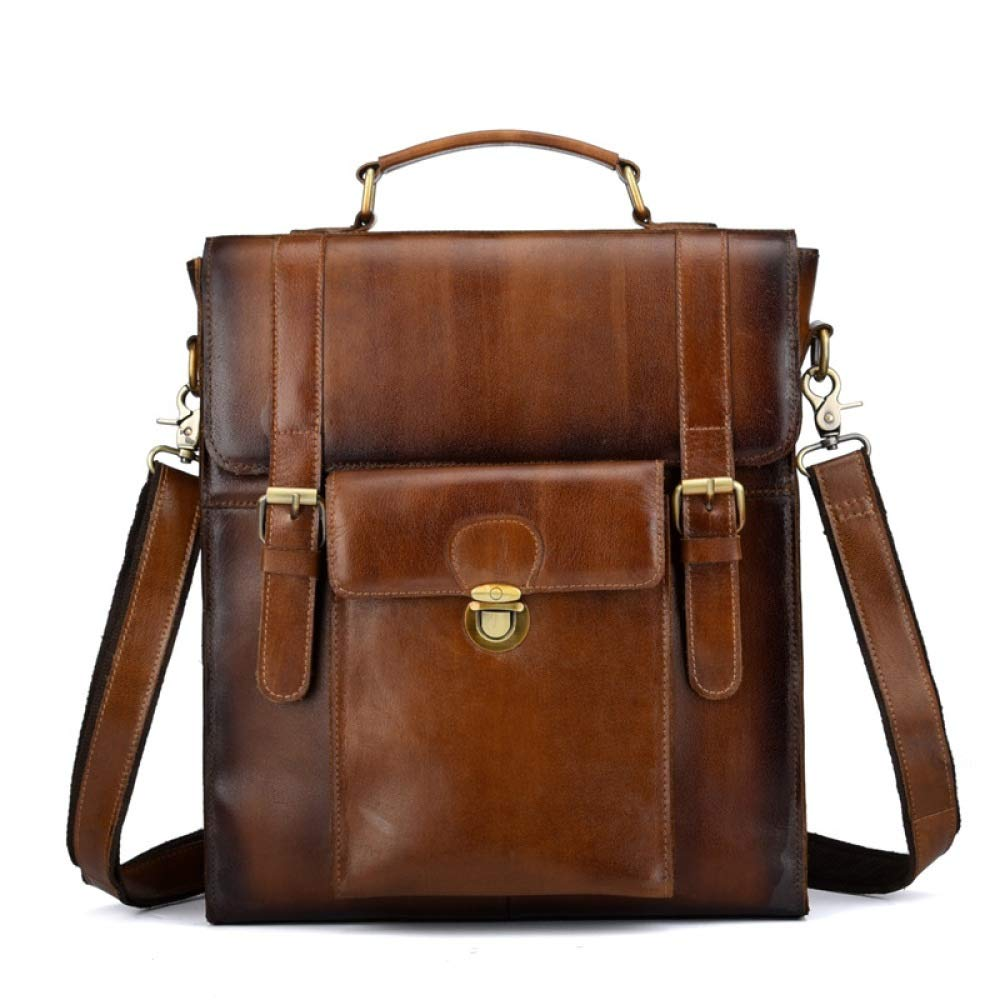 Jiudian Mens Leather Backpacks Trends European Style Retro Backpacks Briefcase Color : Brown, Size : 2934.513 cm