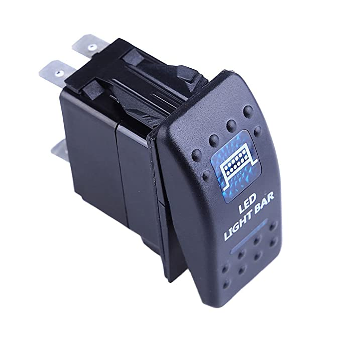 Mintice/™ Car Vehicle 12V 20A Blue LED Light Rocker Toggle Switch 5Pin Horn Light