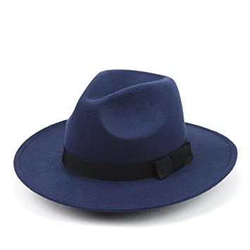 1abd3de9af6 Buy BESTOYARD Classic Structured Wool Fedora Hat for Men and Women (Navy  Blue) Online at Low Prices in India - Amazon.in