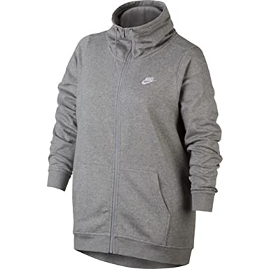 62dfb3b42af Nike Womens Plus Size Funnel Neck Full Zip Jacket (1X) Gray at ...