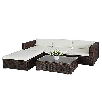 Amazonde 6034 Poly Rattan Lounge Braun Gartenset Sofa Garnitur