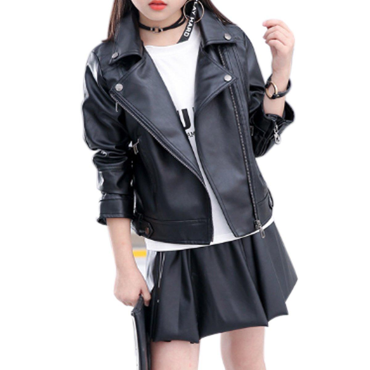 Elife Girls Fashion PU Leather Motorcycle Jacket Children's Outerwear Slim Coat Black 5-6Y …