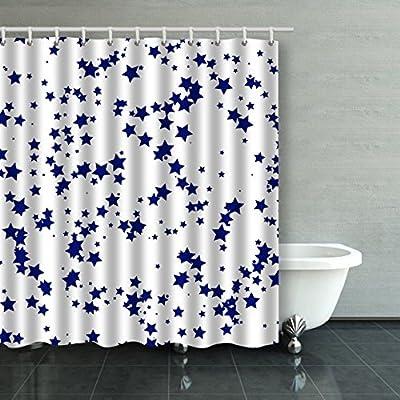 emvency cortina de ducha impermeable patrón con estrellas algodón ...
