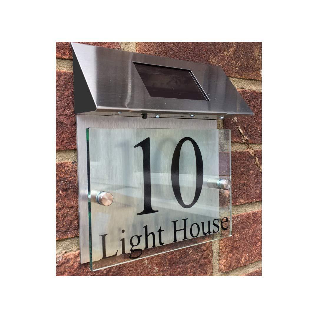 ThedisplayDeal Custom House Addres Door Plaque, Solar Powered, Glass Look Acrylic & Brushed Aluminum Double Panel, Text Area 7''x5'' (Solar Panel)