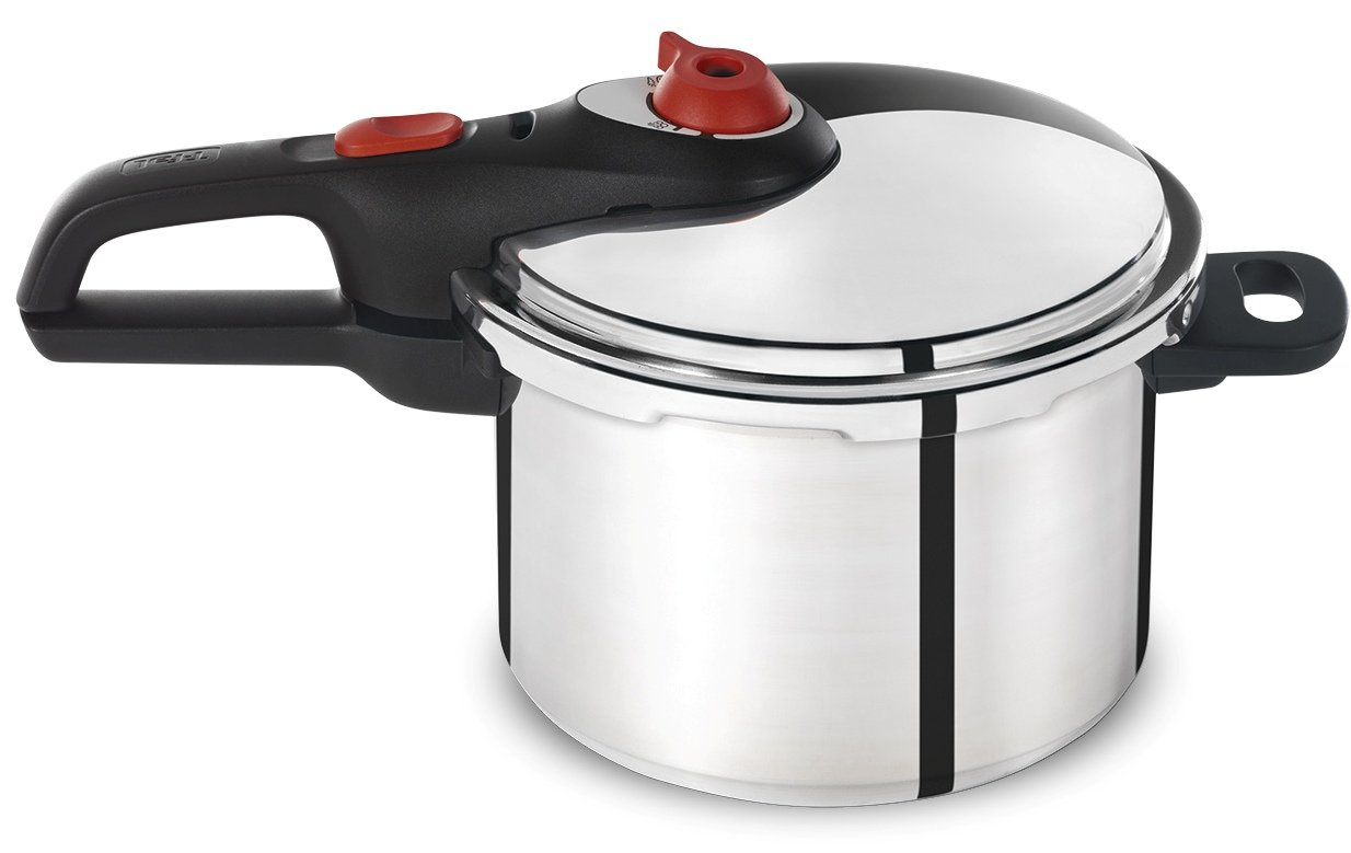 T-fal P2614634 Secure Aluminum Initiatives 12-PSI Pressure Cooker Cookware, 6-Quart, Siver by T-fal