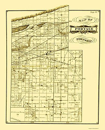 - MAPS OF THE PAST Portage Indiana Landowner - Hardesty 1876-23 x 28.47 - Matte Art Paper