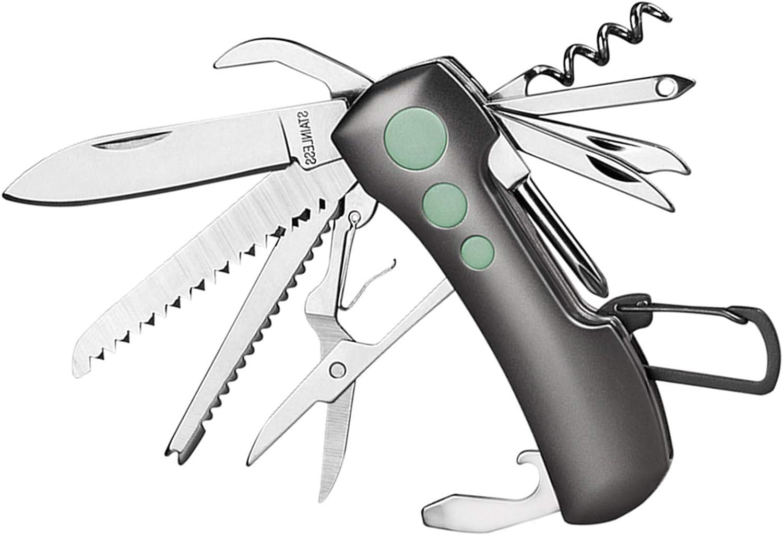 ZIMAIC Navaja suiza, multiherramienta, con 15 funciones, herramienta de bolsillo para camping y emergencias