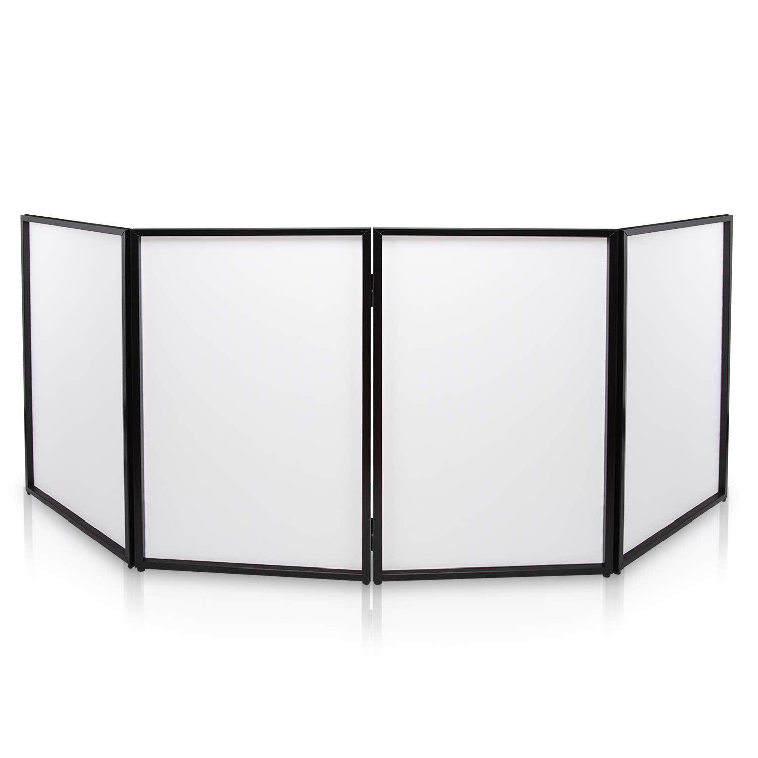 DJ Booth Foldable Cover Screen - Portable Event Facade Front Board Video Light Projector Display Scrim Panel Folding Steel Frame Panel Stand, Stretchable Lycra Spandex - Pyle PDJFAC10 (White) Sound Around