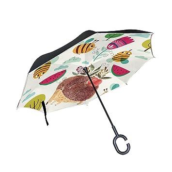 MyDaily Paraguas invertido de Doble Capa para Coches, Paraguas invertido, Bonito Erizo, a