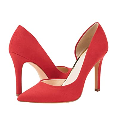 Huiyuzhi Womens Classic Pointed Toe Stiletto Pumps Slip On D'Orsay Dress Sandals: Clothing