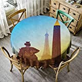 Rank-T Round Tablecloth Vinyl Umbrella 43' Inch Round Eiffel Tower,France Place De La Concorde Obelisk and The Landmark of The City Caramel Yellow Blue Pattern