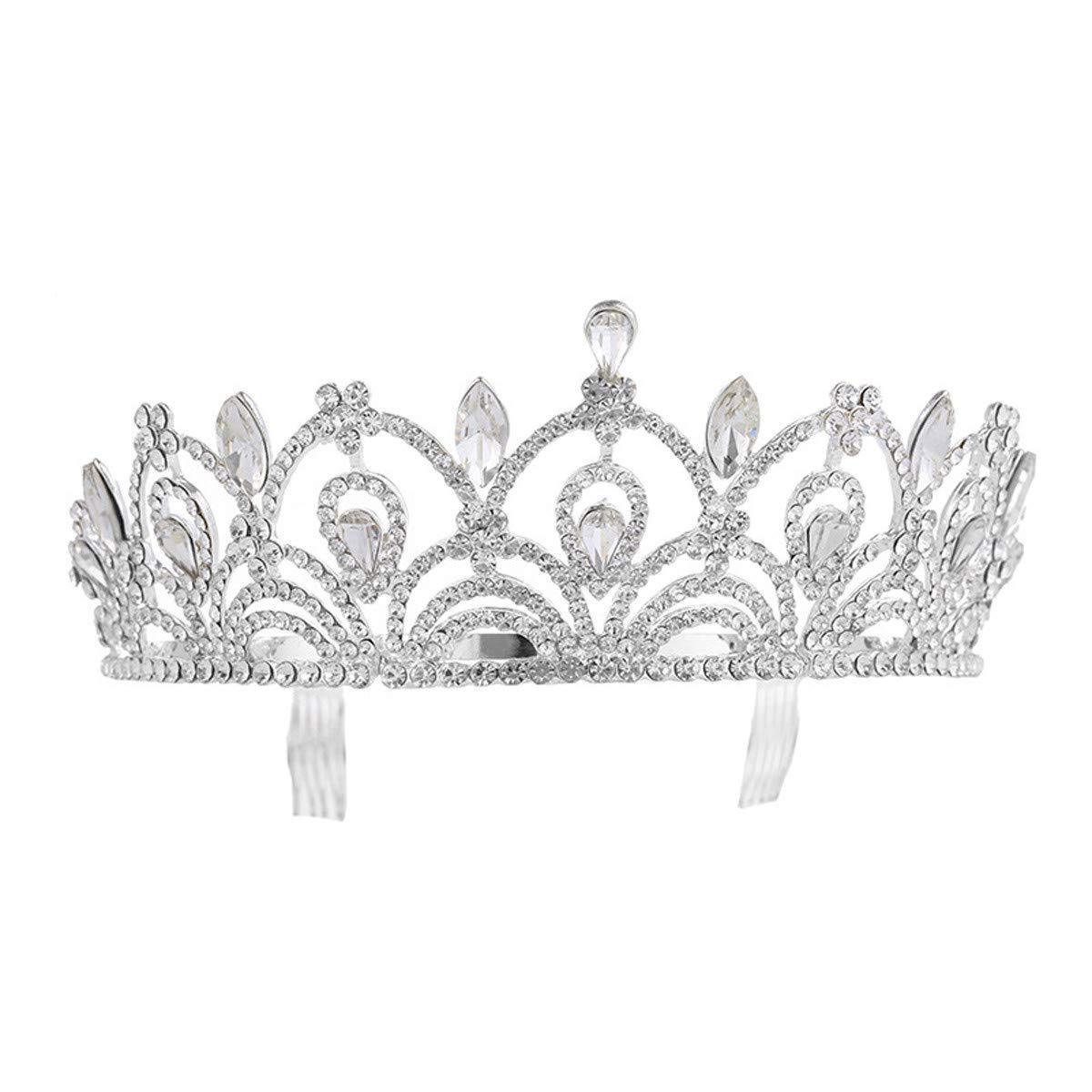 Crystal Crown, Bridal Wedding/Prom Hair Pins/Headdress Accessories/Party/Girls Bridal Ornaments Korean Diamond Wedding Crown Diamond Zinc Alloy Headwear (Color : Silvery)