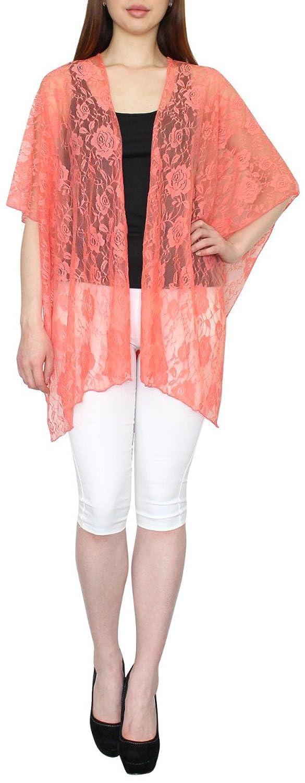 Leichter Damen Sommer Umhang Schultertuch Multifunktionskleid Strandkleid Wickelkleid aus Spitzen mit Blumen-Muster - SJ023
