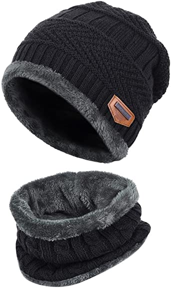 Voqeen Kids Winter Beanie Hat Snood Thermal Knit Gloves Set for Kids Warm Bobble Hat Scarf and Gloves set with thick Fleece for Boys Girls Outdoor Set Aged 3-6