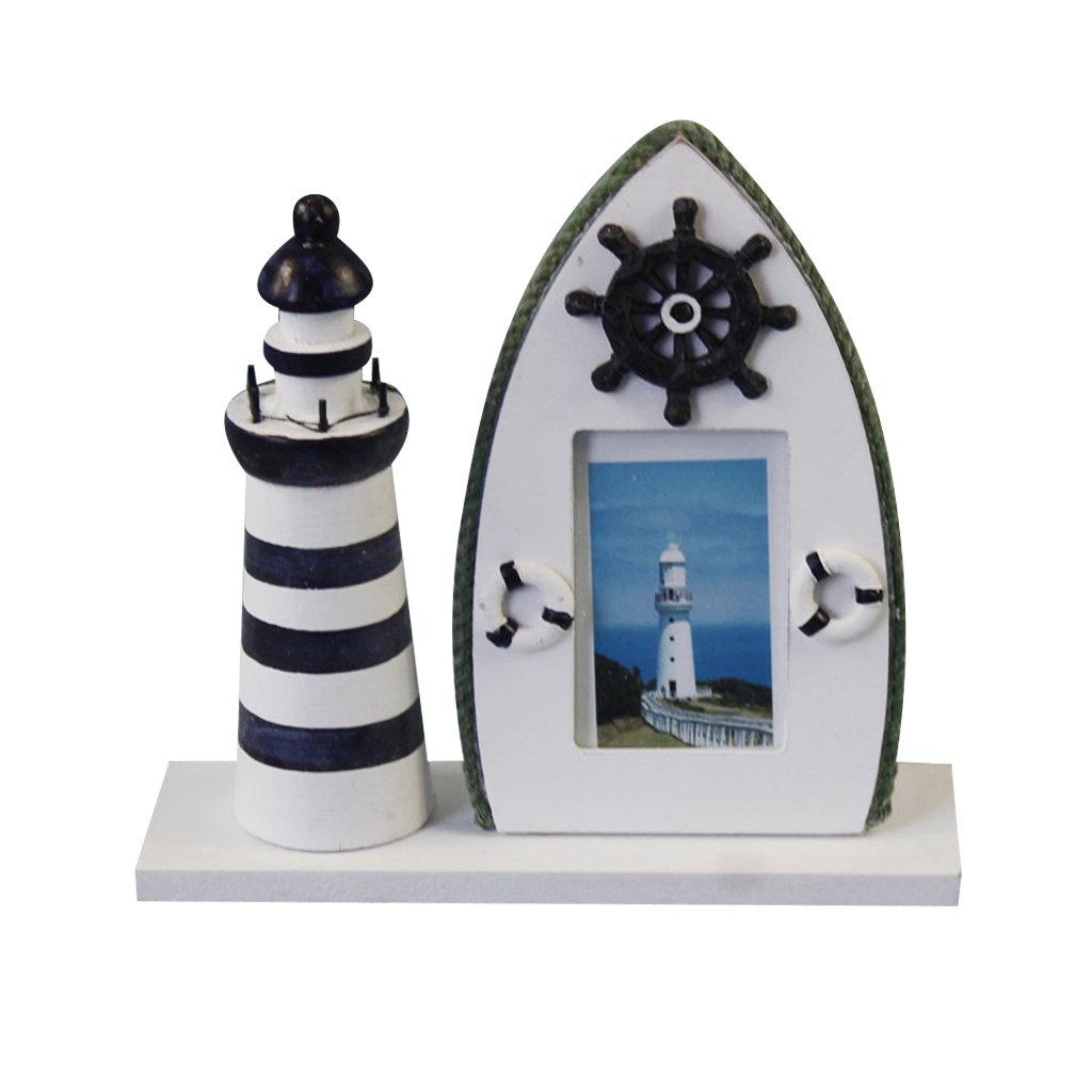 Dovewill 全3色選ぶ フォトフレーム 地中海スタイル 灯台 写真対応 木製 装飾 置物 女性 贈り物 - 舵の画像