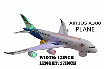NEW AIRBUS A380 AEROPLANE ELECTRIC TOY WITH LIGHTS AND SOUND BIG SIZE BUMP  AND GO ACTION TOY PLANE LED LIGHTS