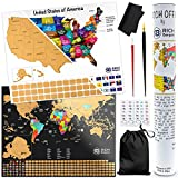 Scratch Off Map of The United States + Bonus Scratch-Off World Travel Poster- Personalized USA Traveling Map for Travelers- Standard Frame Size 16'' x 20'' - Scratching US Watercolor Wall Art