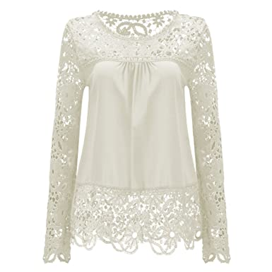 AvaCostume Womens Lace Shoulder Long Sleeve Blouse T Shirt Casual ...