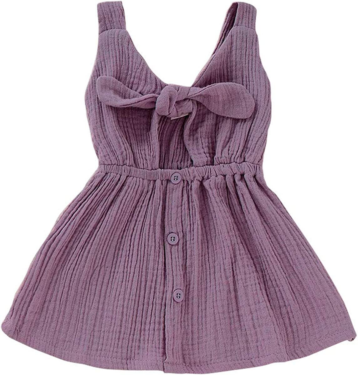 OPAWO Toddler Baby Girl Sleeveless Dress Princess Summer Backless Bowknot Overall Sundress 6M-4Y