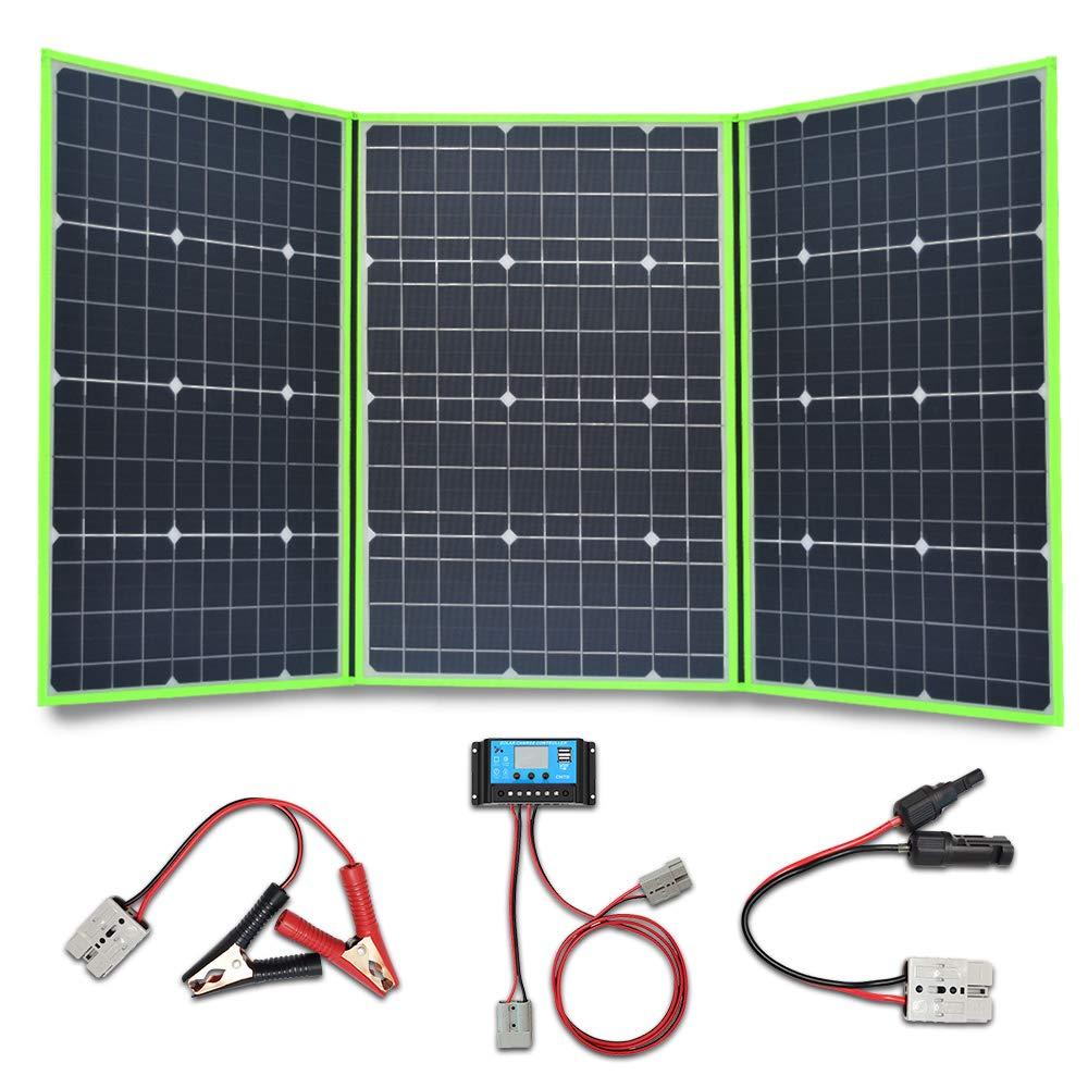 XINPUGUANG 150W (3X 50W) Paneles solares plegables 12v Monocristalino Silicona Flexible Cargador Solar para 12V Batería Camper Canvan Camping Senderismo RV Carga (Verde)