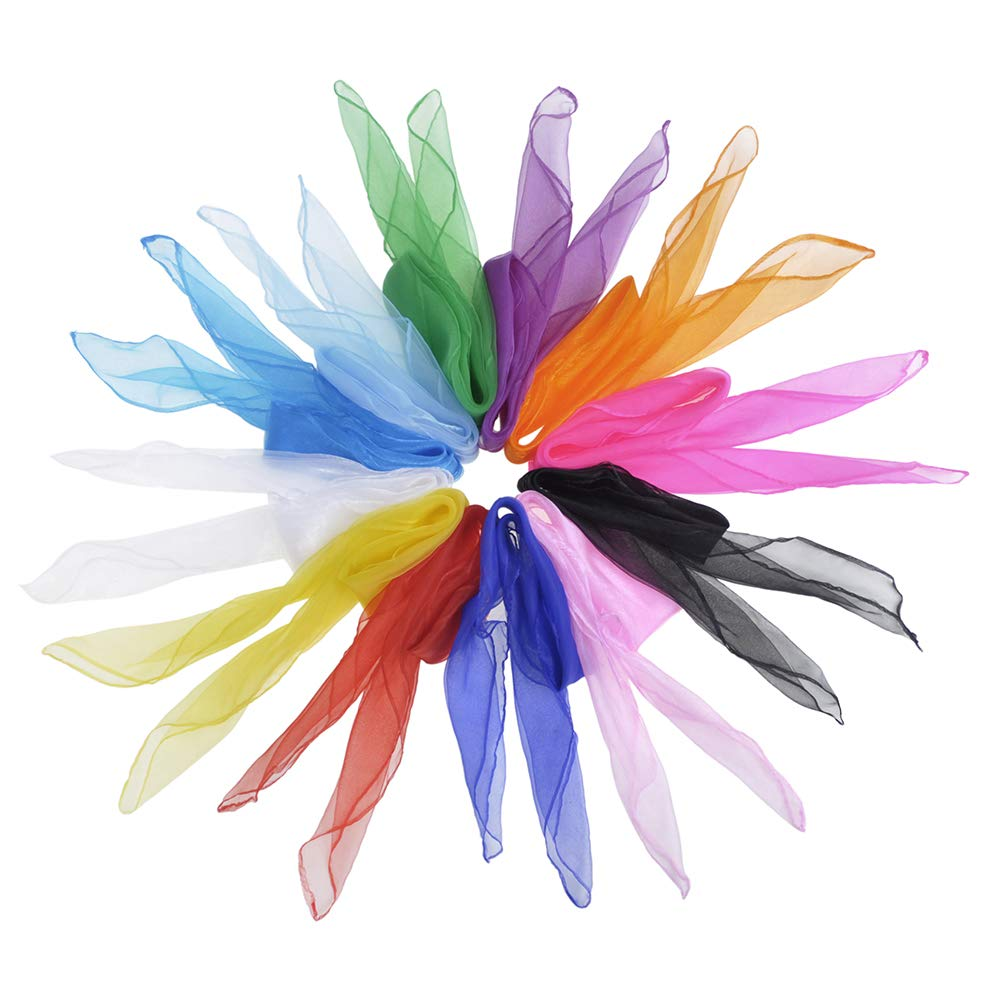 Aspire 36Pcs Juggling Dancing Scarves Rhythm Band Magic Scarves 10-12 Colors Solid