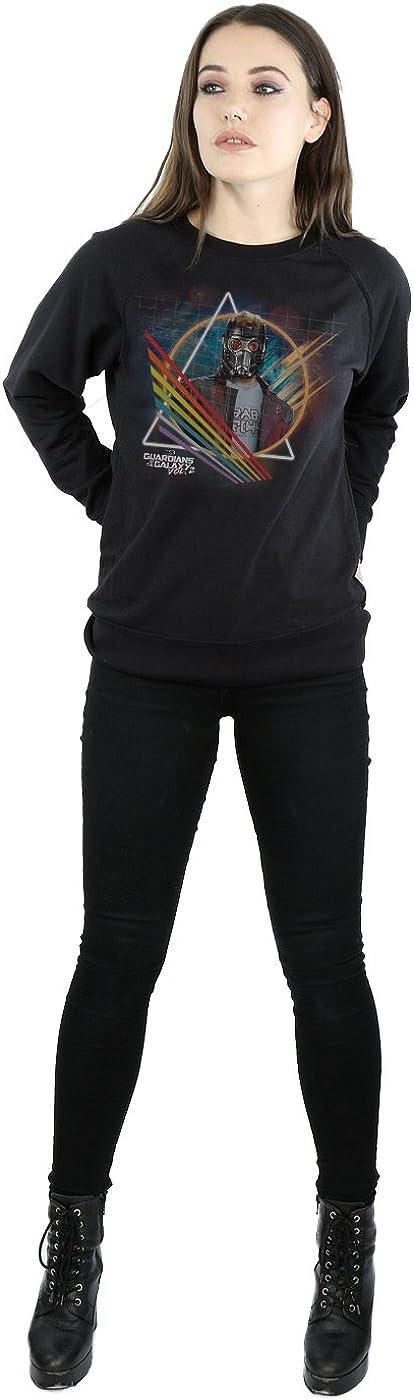 Marvel Damen Guardians of the Galaxy Neon Star Lord Masked Sweatshirt Schwarz