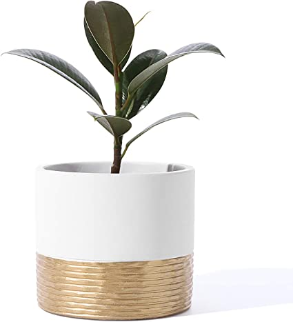 Set Of 3 Brown Wooden Pattern Cement Small Planters Indoor With Drainage Holes Size 3 1