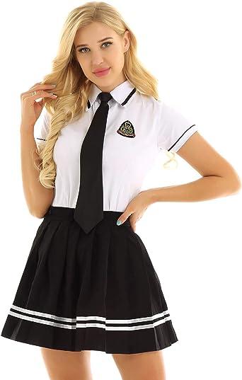 CHICTRY Disfraz Colegiala Estudiante Mujer Uniforme Escolar de Algodón Falda + Camisa + Corbata Juego de rol Adultos: Amazon.es: Ropa y accesorios