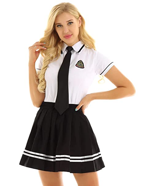 CHICTRY Disfraz Colegiala Estudiante Mujer Uniforme Escolar de Algodón Falda + Camisa + Corbata Juego de rol Adultos