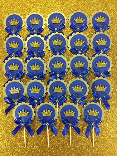 24 Deluxe royal blue and gold glitter prince muffic cupcake topper set , perfect for babyshower, brithday or any special ocassion