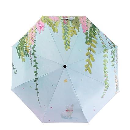 AFCITY Mujer Hombre Paraguas Viaje Patrón de la Hoja de la Lluvia y el Paraguas de
