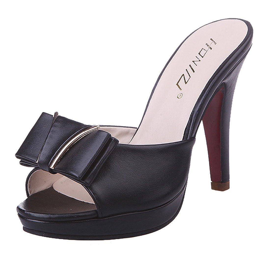 Cheerlife Elegant Damen Sandalen Peep Toe Stiletto High Heels Pantoletten mit Schleife