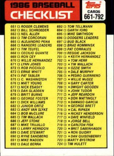 Baseball Topps Checklist (1986 Topps Baseball Card #791 Checklist: 661-792 Mint)