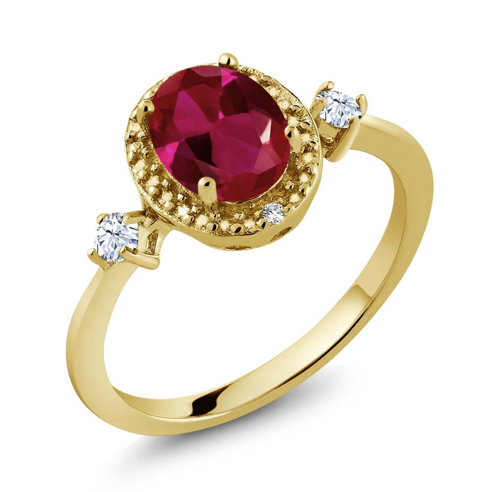 2.50 Ct Round Red Garnet Created Ruby 18K Yellow Gold Plated Silver 3-Stone Ring