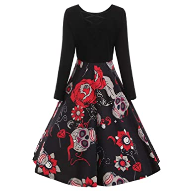 69464fe8c86 DOLDOA Sale for Womens Long Sleeve Elegant Vintage Halloween Lace Skull  Print Evening Party Dress: Amazon.co.uk: Clothing