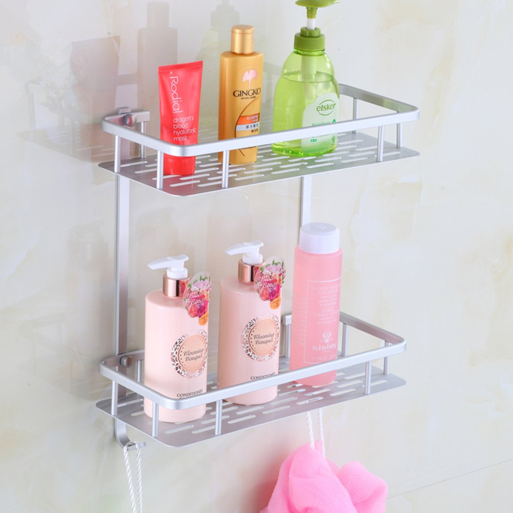Dynabit 2 Tier Wall Mounted Aluminum Bathroom Shelves Shower Caddy,Lightweight 15KG Load Bearing Shampoo Holder