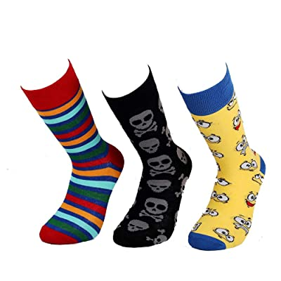 Devin's Happy Color Socks Men's Organic Cotton for Different Color Shoes 3 pair Pack (2) (39-43) at Men's Clothing store