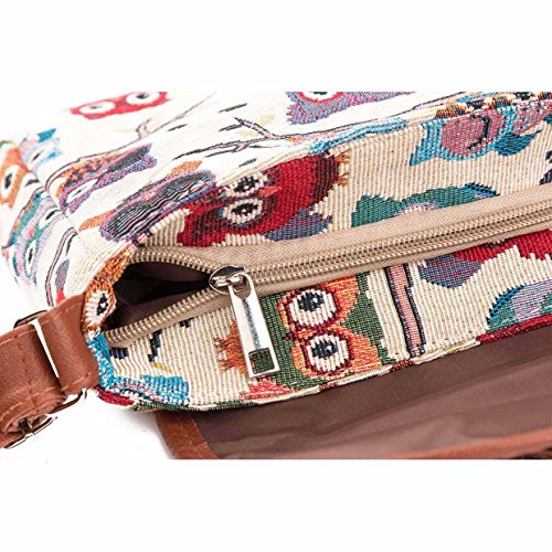 Hombro Cremallera Owl bolsos totes mujer para 2018 Bolsos mujer verano EUzeo de playa baratos de para Bolsa Mujer B Bolso Bolsos con bolso print mensajero doble wgx0Iqgp