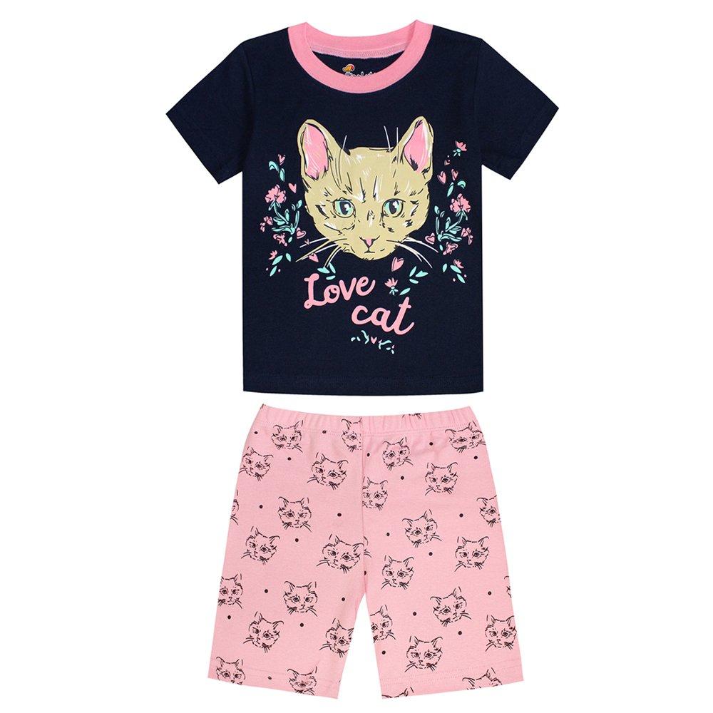Tinaluling brand summer girls love cat face girls pajama children cotton sleepwear nightwear pjs (8years)