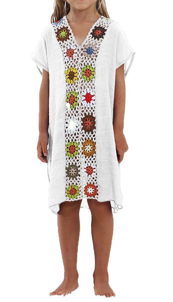 AOVCLKID Kids Swimwear Girls Beach Coverup Crochet V Neck Summer Dress (White,100)