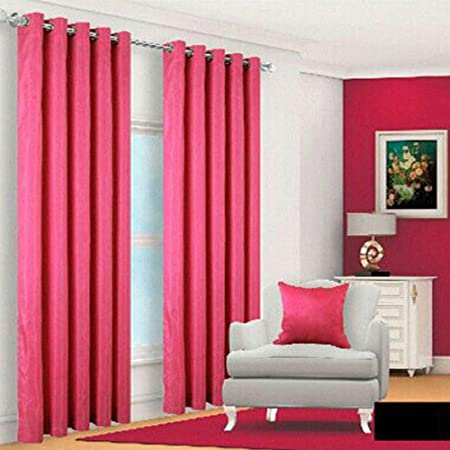 Faux Silk Curtains Fuschia Eyelet Ring Top Fully Lined With Tie Back 66x72 Inches