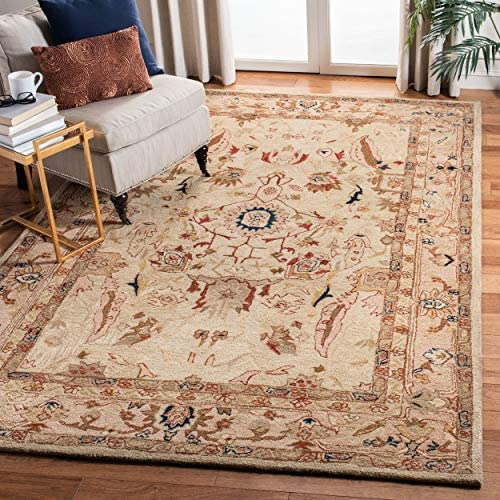 Safavieh Anatolia Collection AN514A Handmade Traditional Oriental Ivory and Beige Wool Area Rug 8' x 10'