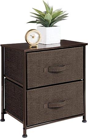mDesign Mesa de luz con 2 cajones – Organizador de armarios en tela – Cajoneras para armarios, para el dormitorio o el vestidor – color café: Amazon.es: Hogar