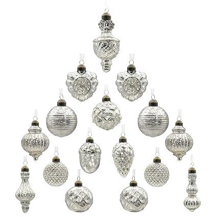 youseexmas Antique Mercury Glass Christmas Ornaments Pack of 16 (Silver) - Amazon.com: Youseexmas Antique Mercury Glass Christmas Ornaments