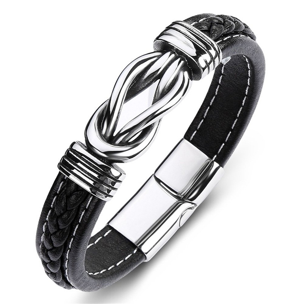 LiFashion LF Her Stainless Steel Genuine Leather Celtic Knot Cuff Bracelet Bangle with Magnetic Clasp for Women for Engagement Anniversary Birthday Gift,18.5cm