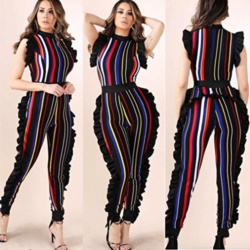 FENZL Women Pants, Sleeveless Ruffled colorful Striped Club Party Casual Jumpsuit Tops Pants For Women