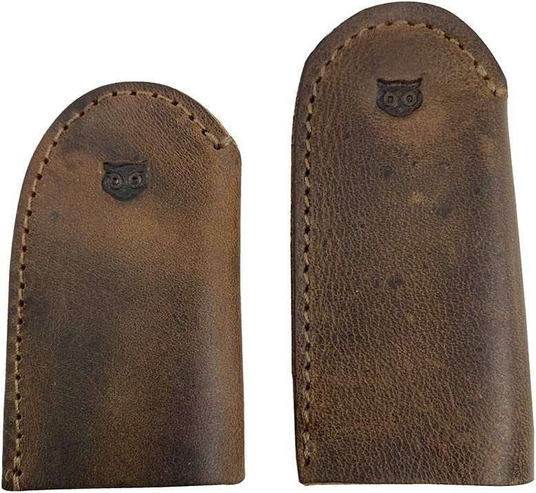 Hide & Drink 3 Pairs Leather Wood Carving Thumb Guard